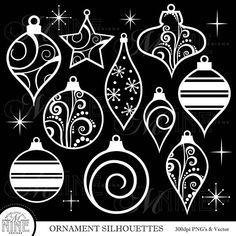 ORNAMENTS Clipart / White Christmas Ornaments Clip Art / Vector Clipart, Christmas Downloads, Christmas Clipart  *Great for use on greeting cards, invitations, printable projects, party packs. paper craft, party invites, digital scrapbooking, backgrounds for blogs / photo albums / scrapbooks and many more creative projects!  ***Purchase 3 or more items and receive 30% off your total order! Just enter the coupon code MNINE30 at checkout***  ---------------------------------...