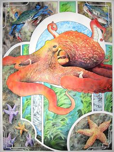 The Octopus original watercolor painting by corbettsparks on Etsy