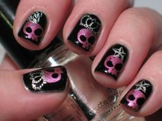 20 Skull Nail Designs to Rock the Season - Pretty Designs Skull Nail Designs, Skull Nail Art, Skull Nails, Halloween Nail Designs, Halloween Nail Art, Spooky Halloween, Halloween Season, Manicure, Gel Nails