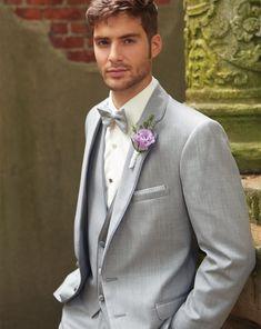 New Arrival Two Button Light Grey Groom Tuxedos Groomsmen Mens Wedding Suits Prom Bridegroom (Jacket+Pants+Vest+Tie) NO:295