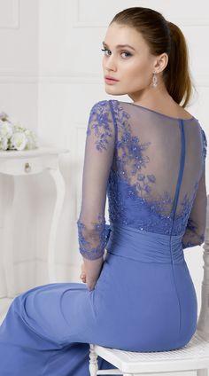 A-line Bateau 3/4 Length Sleeve Appliques Lace Hand Made Flowers Floor-length Long Chiffon Evening Dresses