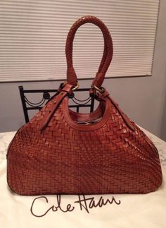 Cole Haan MINT! Genevieve Woven Leather Brown Hobo Tote Shoulder Hand Bag Purse #ColeHaan #TotesShoppers GORGEOUS!!! BEAUTIFUL SADDLE BROWN/ COGNAC BROWN COLOR!!! MINT CONDITION!!! SALE!!! WOW!!!