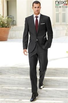 charcoal grey tux and burgundy tie for groomsmen