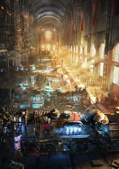 Steampunk World: Station 45, Gleb Alexandrov on ArtStation at https://www.artstation.com/artwork/steampunk-world-station-45