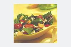 Spinach, Fruit & Feta Salad Recipe - Kraft Recipes Not a fan of Feta to begin with -- leave it out. Spinach Recipes, Vegetable Recipes, Salad Recipes, Feta Salad, Fruit Salad, Clean Eating Recipes, Cooking Recipes, Whole Wheat Rolls, Spinach And Feta