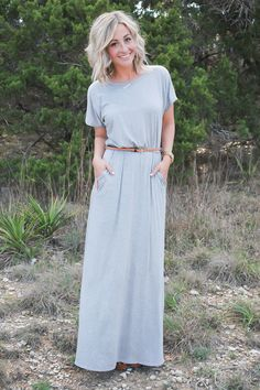 Our Kate Maxi Dress is comfortable & flattering! Kate has hidden side pockets and comes with a braided brown belt that adds the perfect touch to your waistline. 95% Rayon. 5% Spandex.