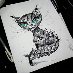 Forarm Tattoos, Dog Tattoos, Cute Tattoos, Animal Lover Tattoo, Tattoos For Dog Lovers, Black Cat Tattoos, Cat Tattoo Designs, Zentangle Patterns, Zentangles
