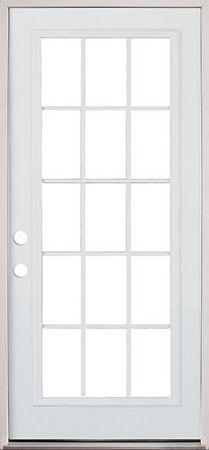 30 exterior door. or 15 lite exterior pre-hung primed steel door 30 i