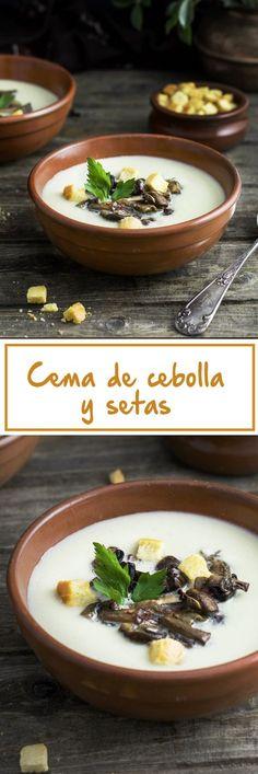 Crema de cebolla y setas al toque de azafrán