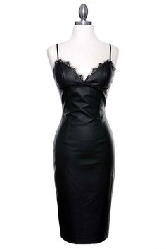 After Dark Leatherette & Lace Trim Midi Dress - Black RESTOCKED!