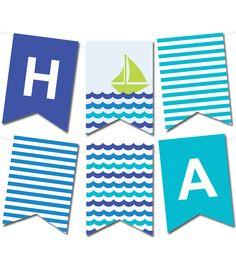 Free Printable Sea Waves Pennant Banner