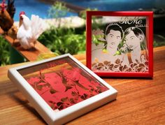Time to Love : in White Pearly paper and Red Frame and in Red Linen paper and White Frame, 25 x 25 cm frame size.