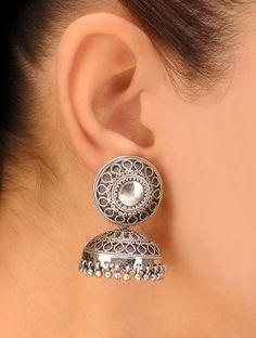Pair of Classic Jhumki Silver Earrings