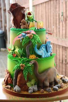 Dinosaurs world - Cake by Lidiya's Sweet Kitchen - CakesDecor Dinasour Birthday Cake, Dinasour Cake, Dinasour Party, 5th Birthday Cake, Dinosaur Birthday Party, Fondant Cakes, Cupcake Cakes, Dino Cake, Specialty Cakes