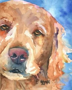 Golden Retriever Art Print of Original Watercolor by dogartstudio