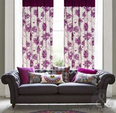Tropical plum purple curtains with a gorgeous floral print