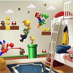 NOUVEAU Super Mario Bros Amovible Stickers muraux Decal Décoration pour la maison des enfants: Amazon.fr: Bébés & Puériculture
