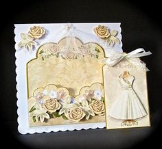 Cream Rose Special Day Scallop Fashion Tag CF Mini Kit on Craftsuprint designed by Ann-marie Vaux - made by Cynthia Massey - Printed twice onto Crafty Bobs matte paper for extra decoupage and to also use the back sheet as an insert, mounted onto white card, decoupaged with foam pads, added extra roses to the top corner, added a little net veil to the top of the card, a bow to the tag and some parchment and pearl flowers, a lovely design suitable for many different occasions. - Now available…