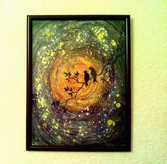 "Painting ""Love Bird"" ebru art. Ebru  abstract art , abstract painting .Free Shipping.Night, the moon. Space. by Penzlikua on Etsy"