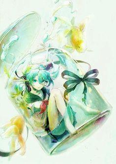 anime, bottle, cute, drawing, girl, manga, painting