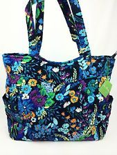 New With Tags Vera Bradley Pleated Tote Midnight Blues Purse Diaper Bag