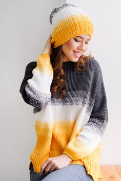 Yellow & Grey Over-size sweater & cap. Gurenkova Kniwear http://instagram.com/knitdesignstudio