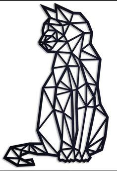 Geometric Cat Tattoo, Geometric Drawing, Tattoo Abstract, Geometric Fox, Geometric Sleeve, Abstract Art, 3d Zeichenstift, Chat Origami, Stylo 3d