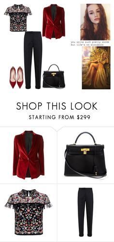 """""""I got my high heels on with my boxing gloves I can knock you out with a one two punch I'm perfume sweet and whiskey strong (Virginia - Champion of Hera)"""" by ilovecats-886 ❤ liked on Polyvore featuring Tagliatore, Hermès, Needle & Thread, STELLA McCARTNEY and Hera"""