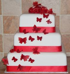 3 tier red and white butterfly wedding cake by Paramount Cakes, via Flickr