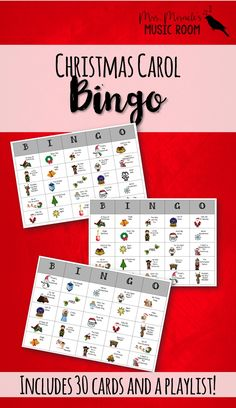 Christmas Carol Bingo: GREAT game for Christmas time! Includes link to Spotify playlist so students can listen and find the carol on their card!