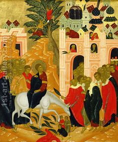 Christ's Entry into Jerusalem - anonymous.   Love the red and black