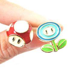 Super Mario Themed Mushroom and Ice Flower Power Up Stud Earrings