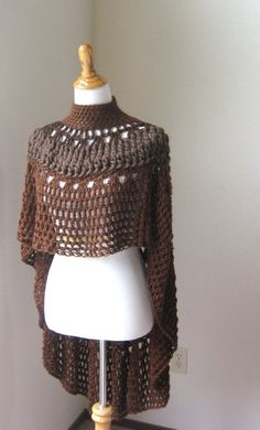 CROCHET PONCHO SHAWL Brown Fashion Boho Circle Vest Original Ooak Handmade Capelet Turtleneck Rustic