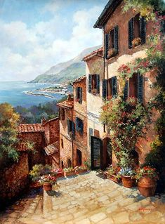 Paul Guy Gantner - p - Kunst Pictures To Paint, Art Pictures, Image Nature, Beautiful Paintings, Painting Inspiration, Landscape Paintings, Watercolor Paintings, Beautiful Places, Scenery