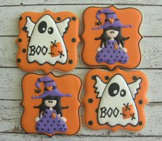 Ghosts and Witches Halloween Decorated Sugar Cookies