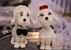 Custom wedding cake topper. Lovely Poodles. Base by LaSymphonie
