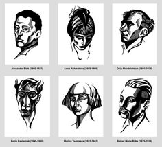 Love these stylised linocut portraits