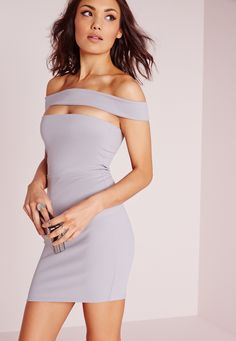 Missguided - Cut Out Panel Bardot Bodycon Dress Ice Grey