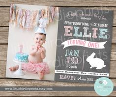 BUNNY BIRTHDAY INVITATION First Birthday by littlebirdieprints