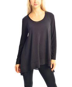 Look what I found on #zulily! Black Hi-Low Scoop Neck Sweater - Women by Zac Studio #zulilyfinds