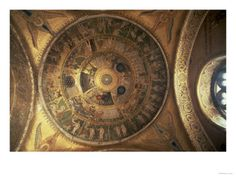 The Creation of the World, from the Genesis Cupola in the Atrium (mosaic) San Marco, Venice, Italy Medieval Art, Atrium, Venice Italy, Astrology, Christ, Vintage World Maps, Zodiac, San, Image