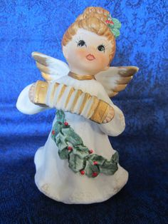 Angel Christmas Figurines-both are stamped by NowAndThenConnection
