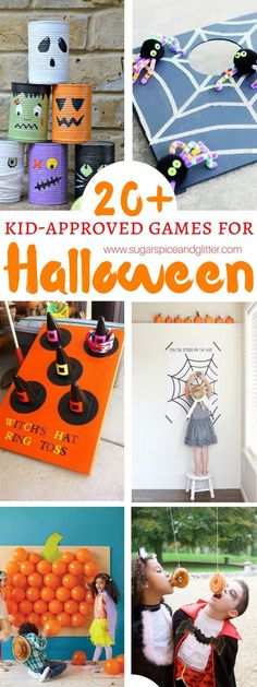 20 Kid-approved games for Halloween - all of your Halloween party planning done for you. These games can even be made by kids and would work great indoors or outdoors. halloween games Halloween Games for Kids ⋆ Sugar, Spice and Glitter Halloween Tags, Halloween Party Kinder, Halloween Carnival Games, Outdoor Halloween Parties, Childrens Halloween Party, Halloween Party Activities, Halloween Activities For Kids, Halloween Birthday, Halloween Snacks