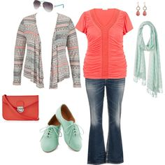 """Mint and Coral for Spring- Plus Size Outfit"" a great spring outfit in colors of mint and coral for the plus size gal. aztec cardigan, gathered tee, mint oxfords, coral crossbody bag, sunglasses, earrings, jeans"