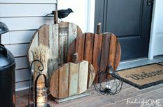 Rustic Pumpkin Crafts - DIY Fall Decor - Good Housekeeping - stain wood with tattered angels paints Pallet Crafts, Pallet Art, Diy Pallet Projects, Pallet Ideas, Craft Projects, Fall Projects, Wood Ideas, Pallet Signs, Into The Woods