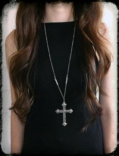 Your place to buy and sell all things handmade Gothic Accessories, Jewelry Accessories, Silver Necklaces, Cross Necklaces, Layering Necklaces, Fashion Jewelry, Women Jewelry, Unique Jewelry, Vampire Fashion