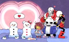 Undertale. Snowman won't be lonely no more :')