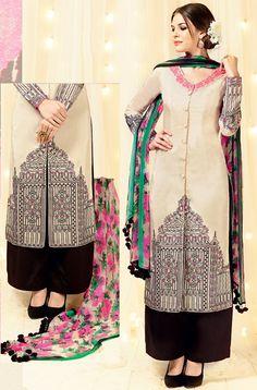 a1c4c17832 Beige Satin Palazzo Suit with Dupatta - #Pakistani-Salwar-Kameez-Designs  Pakistani