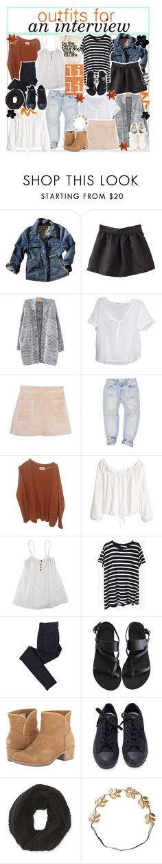 """""""outfits for an interview"""" by aloha-tip-girls ❤ liked on Polyvore featuring Juicy Couture, American Vintage, MANGO, OneTeaspoon, Dogeared, H&M, R13, C.R.A.F.T., Ancient Greek Sandals and Lacoste"""