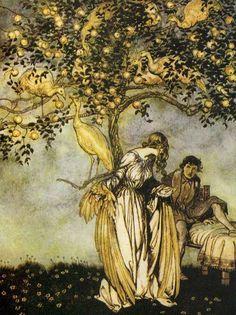 Golden apple tree by Arthur Rackham. From William Butler Yeats, Irish Patriot, by Carolyn Emerick. Read the full article at www.CarolynEmerick.com